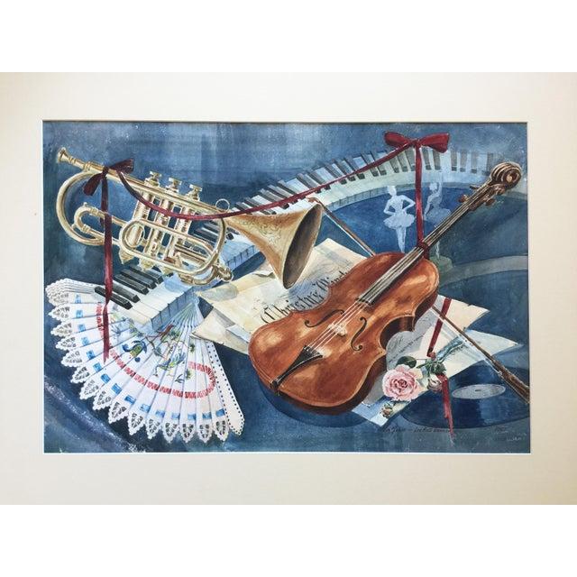 Vintage 1950's Watercolor Painting MusicViolin Trumpet Keyboards - Image 2 of 9