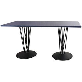 Blue Marquette Double Pedestal Table