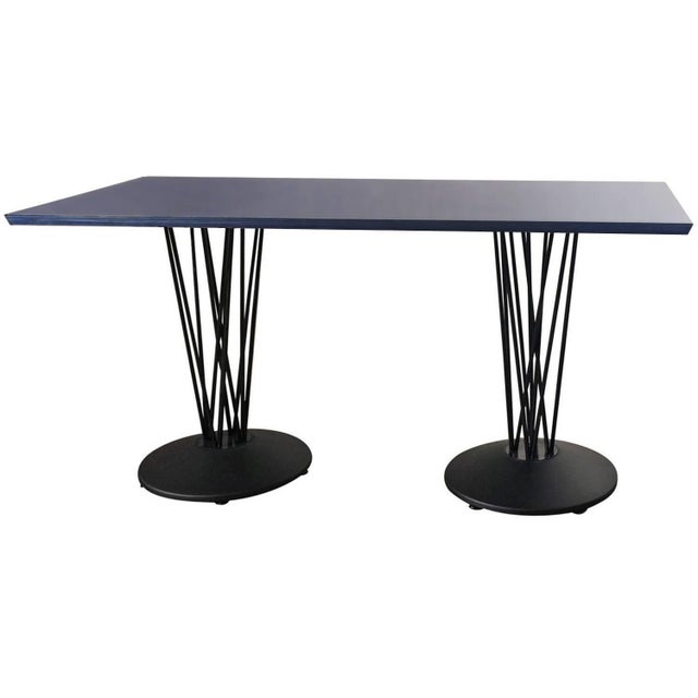 Blue Marquette Double Pedestal Table - Image 1 of 7