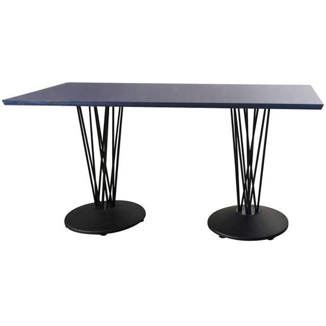 Blue Marquette Double Pedestal Table For Sale