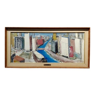William Olendorf -Chicago River City View -Oil Painting For Sale