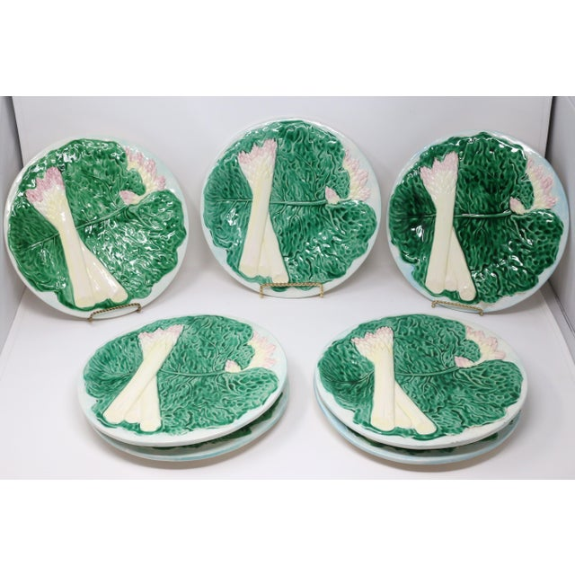 Boho Chic Vintage 1984 Majolica Cabbage and White Asparagus Plates - Set of 7 For Sale - Image 3 of 10