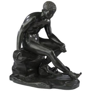 20th Century Figurative Bronze Sculpture of Seated Hermes For Sale