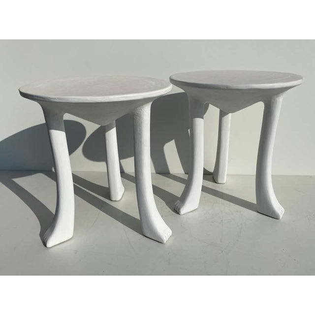 Mid-Century Modern African Side Tables with Feet - a Pair For Sale - Image 3 of 12