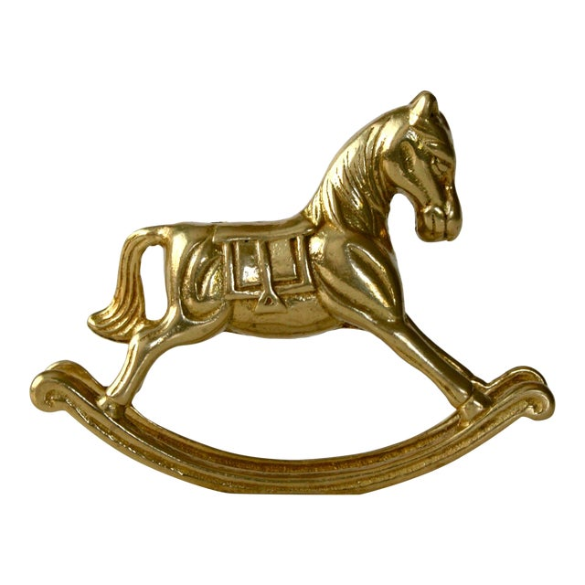 20th Century Childrens Brass Rocking Horse Figurine For Sale