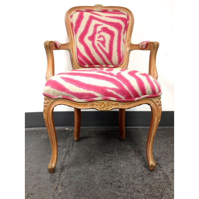 Contemporary Pink Zebra Print Louis Chair For Sale - Image 3 of 8