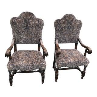 Antique Jacobean Throne Arm Chairs a Pair For Sale