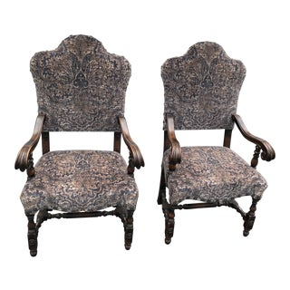 Antique Kittinger Style Jacobean Throne Arm Chairs a Pair For Sale