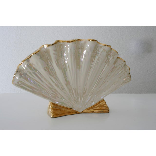 Art Deco Pearlescent Ivory and Gold Shell Shaped Vase For Sale - Image 3 of 8