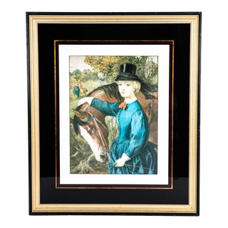 Early 20th Century French Print Lithograph With Painted Wood Frame For Sale