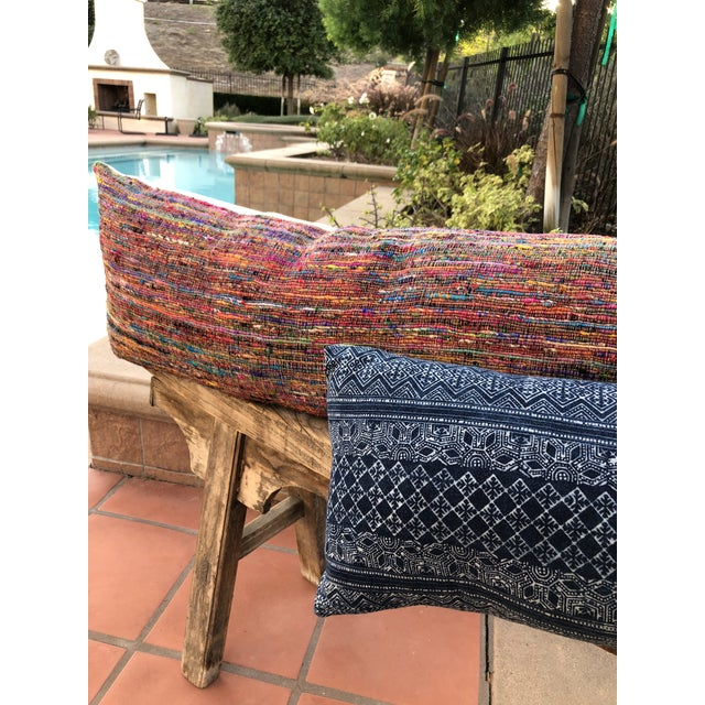 Hand-Woven Silk and Linen Pillow For Sale - Image 5 of 6