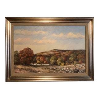 """Landscape in Autumn of Hills and River Painting by Wb """"Dub"""" Franklin For Sale"""