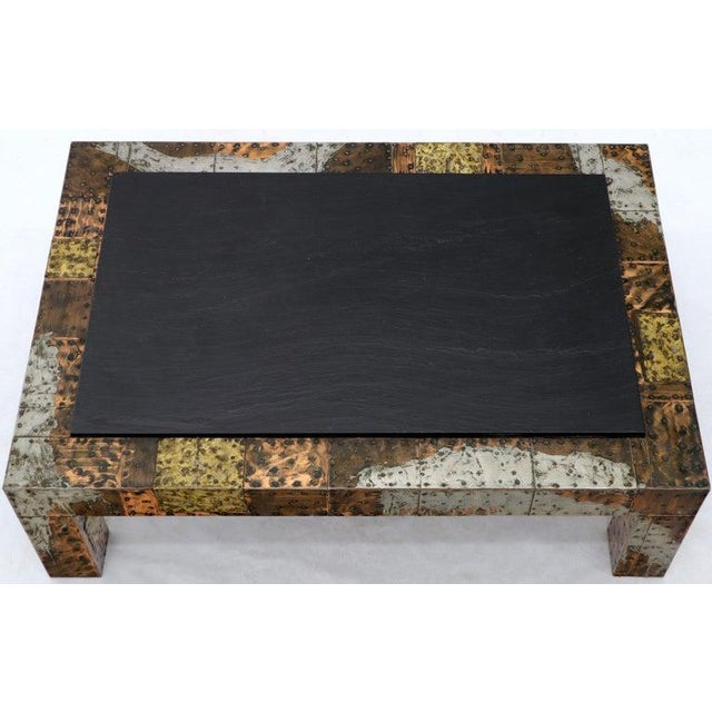 1970s Paul Evans Mid-Century Modern Rectangular Coffee Table With Slate Top For Sale - Image 5 of 12