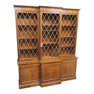 Baker Regency Style Breakfront Bookcase For Sale