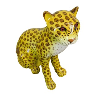 Italian Pottery Cheetah Statue For Sale