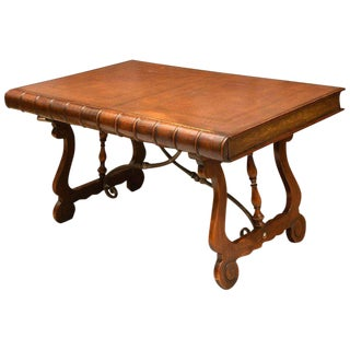 Trompe l'Oeil Leather Book Writing Table or Console For Sale