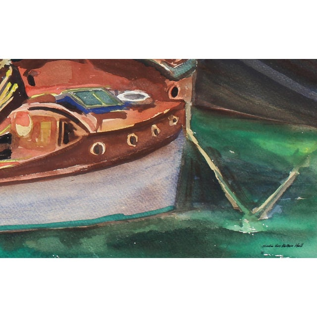 This mid 20th century watercolor on paper seascape with boats is by California artist Sadie Van Patten Hall (1884-1967)....