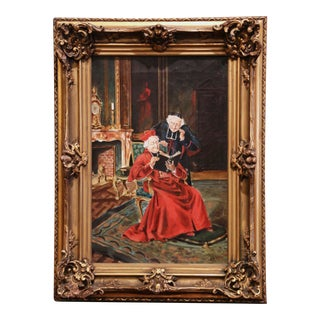 19th Century French Priest Oil Painting in Carved Giltwood Frame Signed M. Valle For Sale