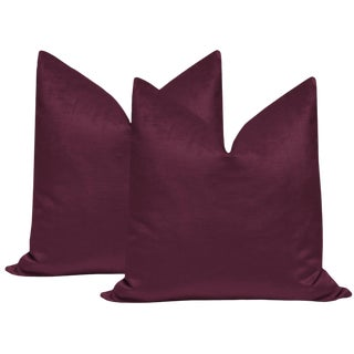 "22"" Plum Luxe Velvet Pillows - a Pair For Sale"