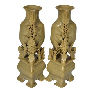 1970s Vintage Carved Soapstone Vases - a Pair For Sale