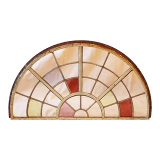1920's Window Casement With Intermittent Colored Glass For Sale