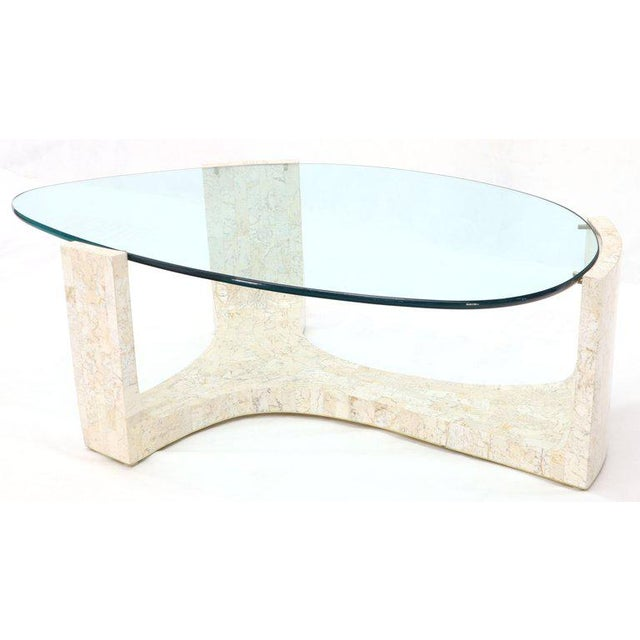 Tessellated Stone Veneer Tile Organic Kidney Shape Coffee Center Table For Sale - Image 13 of 13