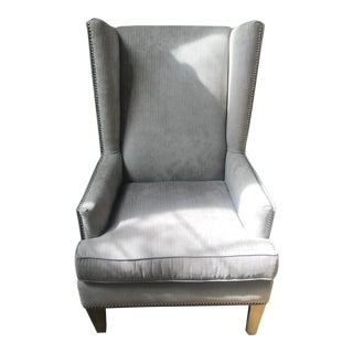 Contemporary Tall Wing Back Gray Chair For Sale