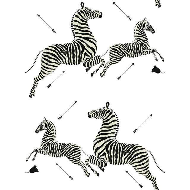 Red by Scalamandre Peel & Stick Wallpaper, Zebras, Grey For Sale