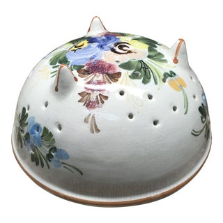 Abc Bassano Hand Painted Floral Ceramic Colander For Sale