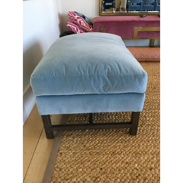 A. Rudin Blue Upholstered Ottoman - Image 3 of 11