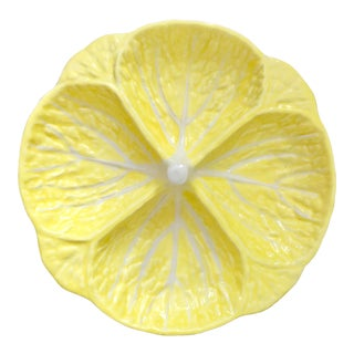 Vintage Yellow Portugese Cabbage Dish For Sale