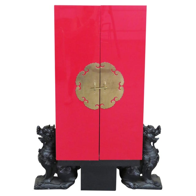 Karl Springer Style Asian Modern Red Lacquered Cabinet For Sale In Philadelphia - Image 6 of 6