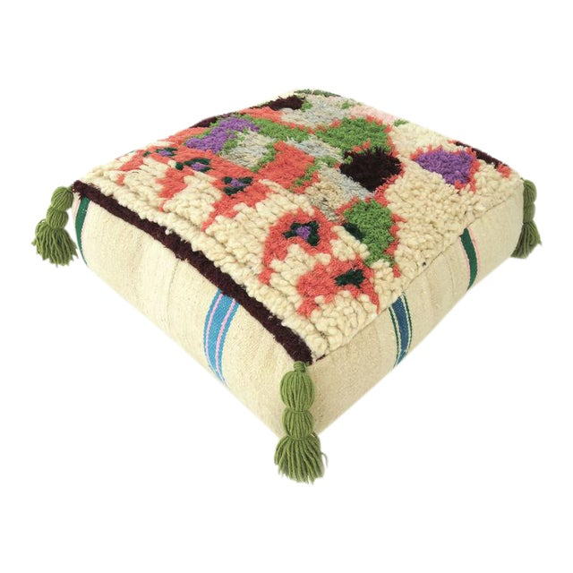 Vintage Abstract Moroccan Pouf - Image 1 of 8