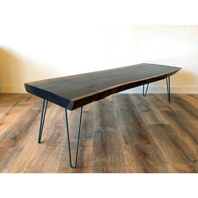 Modern Raw Edge Slab Coffee Table With Hair Pin Legs For Sale - Image 11 of 11