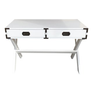 1960s Campaign White Gloss Writing Desk For Sale