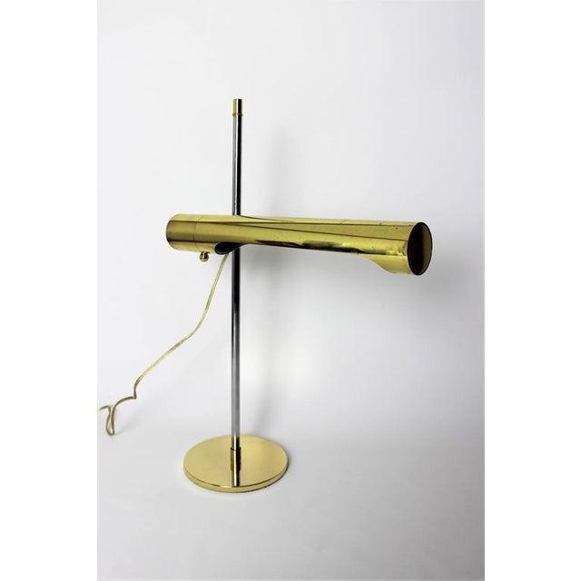 Sleek Brass and Chrome Telescoping Desk Lamp, 1970s - Image 2 of 4
