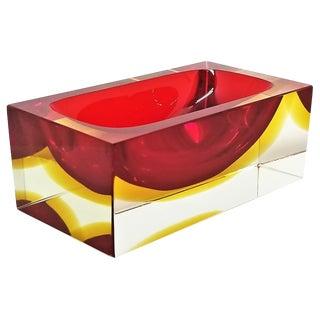Vintage Murano Glass Bowl by Alessandro Mandruzzato - Italy Mid Century Modern Minimalist Palm Beach Boho Chic Italian Venetian Sommerso For Sale