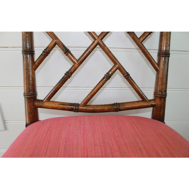 Orange Chinese Chippendale Style Faux Bamboo, Wood Dining Chairs by Century Furniture - Set of 6 For Sale - Image 8 of 11