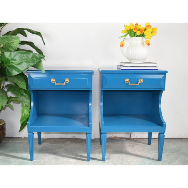 Italian Baroque style mixed wood nightstands with one drawer. Refinished in Gloss Lacquer color name Marea Baja by Sherwin...