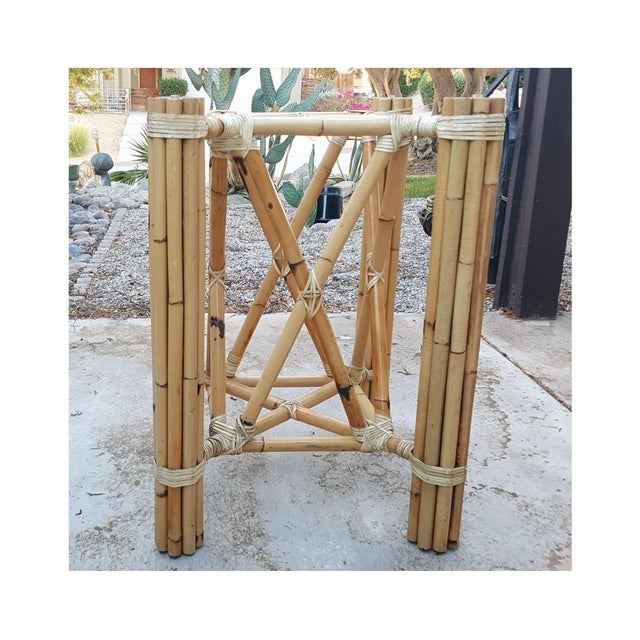 1980s 1980s Vintage Bamboo McGuire Rawhide Wrapped Rattan Style Reeded Table Base For Sale - Image 5 of 6