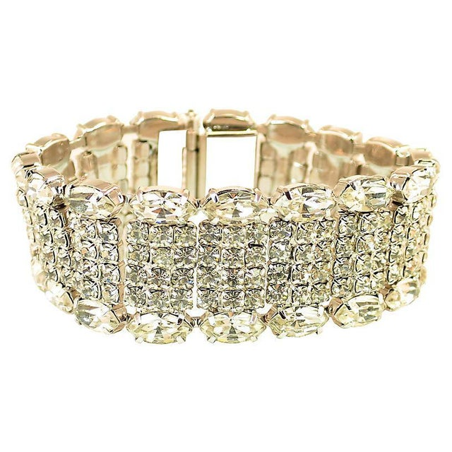 Weiss Weiss Segmented Crystal Bracelet, 1950s For Sale - Image 4 of 7