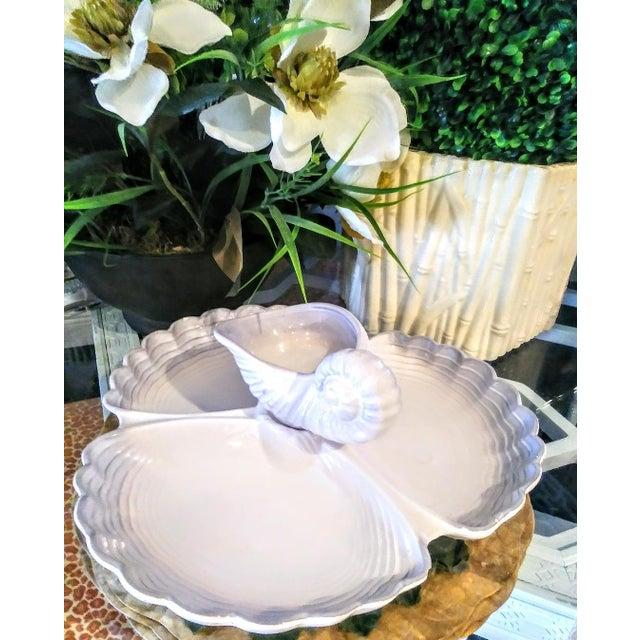 Vintage Haeger Large Coastal Clamshell Chip and Dip Ceramic Server Platter For Sale - Image 9 of 9
