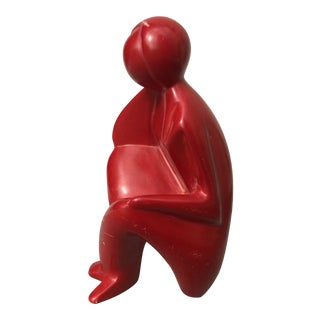 Vintage Red Stone Figural Sculpture For Sale