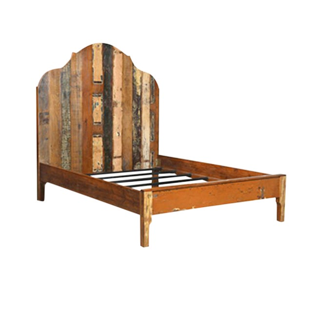 Rustic distressed painted wood king bed chairish for Buy reclaimed wood los angeles