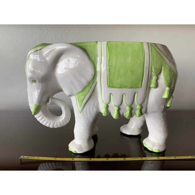 Italian elephant planter. Lime green and white. Great condition consistent with age.