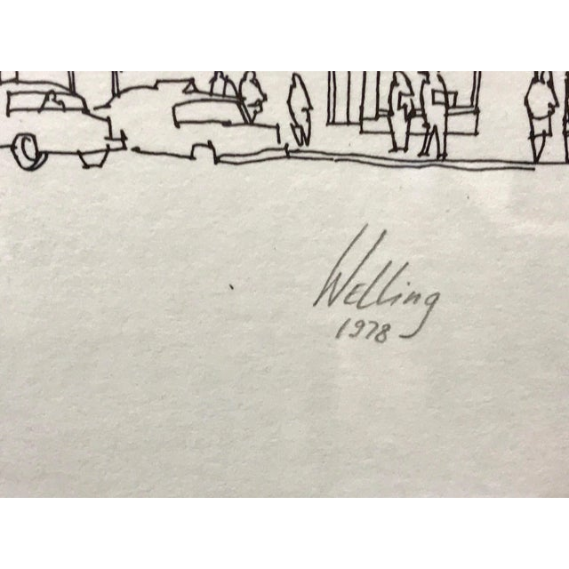 """White """"Times Square, NYC 1978"""" Signed and Numbered Line Drawing by Richard Welling For Sale - Image 8 of 10"""