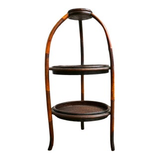 Vintage Round Two Tier End Table For Sale