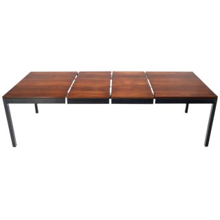Mid-Century Modern Mixed Woods Top Dining Table with 2 Leaves For Sale