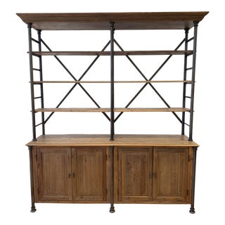 Pine + Iron Bookcase & Cabinetry For Sale