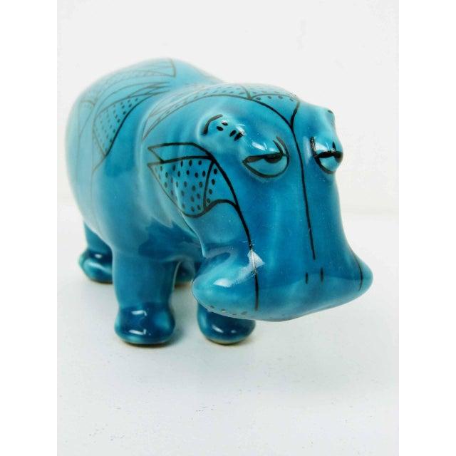 Bitossi Style Italian Blue Hippo Figurine - Image 4 of 7